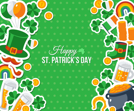 irish banner: Happy St. Patricks Day Greeting Card, Banner or Flyer. Vector illustration. Party Invitation Design with Irish Elements Pattern. Typographic Template for Text. Patrick Flat Stickers Frame Border