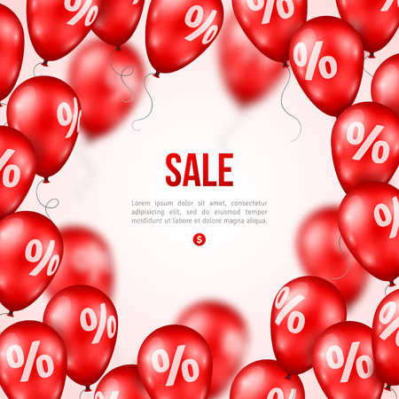 baloons: Sale poster. Vector illustration. Design template for holiday sale event. 3d red balloons with percents. Original festive backdrop.
