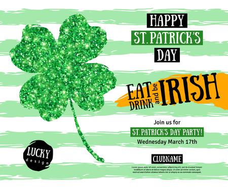 ハッピー聖パトリックの日パブ パーティー招待状のテンプレートです。ベクトルの図。アイルランド輝く 4 つ葉のクローバー。テキストの文字体裁
