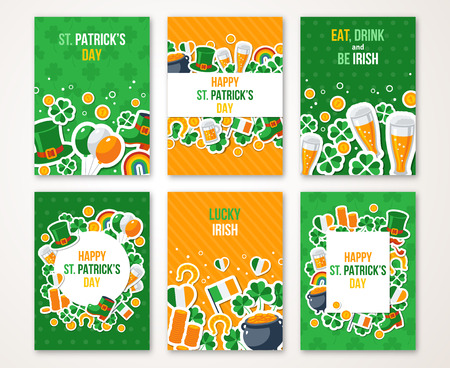 st: Set Of Happy St. Patricks Day Greeting Card or Flyer. Vector illustration. Party Invitation Design with Irish Elements Pattern. Typographic Template for Text. Irish Pub Menu Design. Illustration