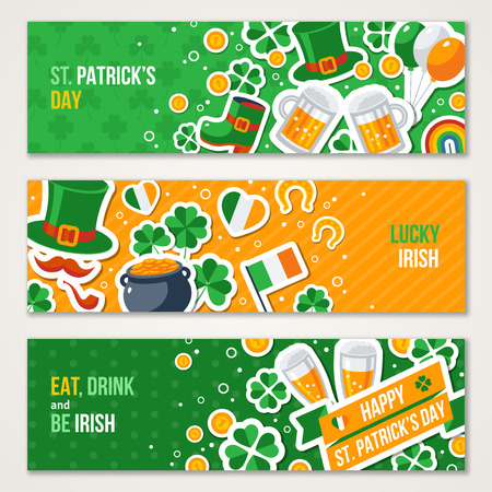 clover banners: Horizontal Saint Patricks Day Banners Set with Irish Stickers Symbols in Flat Style. Illustration. Ireland Icons. Patrick Day Celebration Concept. Four Leaves Clover. Leprechaun Hat, Pot Coins.