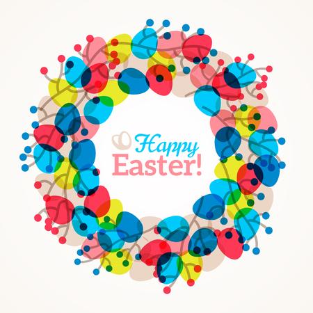 Pasen krans met kleurrijke eieren en takken met bessen. illustratie. Willow takken. Leuk Pasen frame met plaats voor tekst. Pasen sjabloon ontwerp, wenskaart.