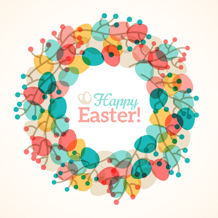 Easter wreath with colorful eggs and branches with berries. illustration. Willow tree branches. Cute Easter frame with place for text. Easter template design, greeting card.
