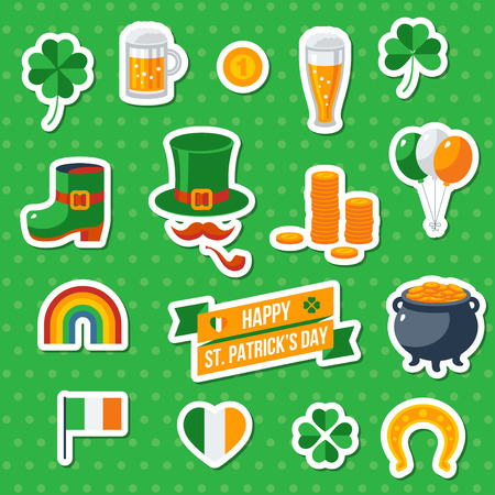 irish beer label: Set Of Happy St. Patricks Day Flat Icons. illustration. Eat, Drink and be Irish. Patricks Day Symbols. Mug of irish beer, coins, rainbow, leprechaun hat, pot with coins, four leaves clover Illustration