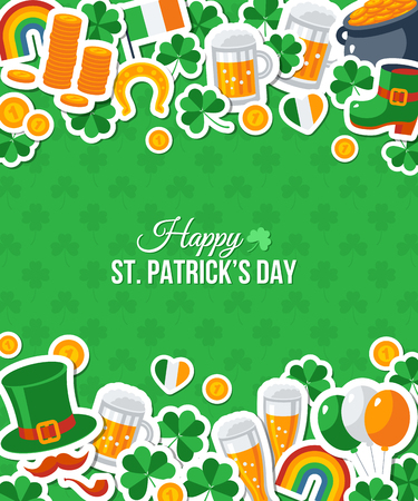 irish beer label: Happy St. Patricks Day Greeting Card. illustration. Party Invitation Design with Irish Elements Pattern. Typographic Template for Text. Patrick Flat Stickers Frame Border Illustration