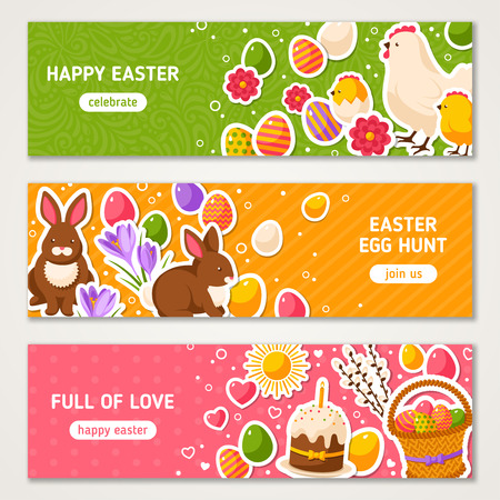 cartoon easter basket: Happy Easter Horizontal Banners Set With Flat Sticker Icons. Illustration. Easter Rabbit, Ornate Eggs. Hen and Cute Chicken. Spring Colorful Easter Concept. Season Greetings.
