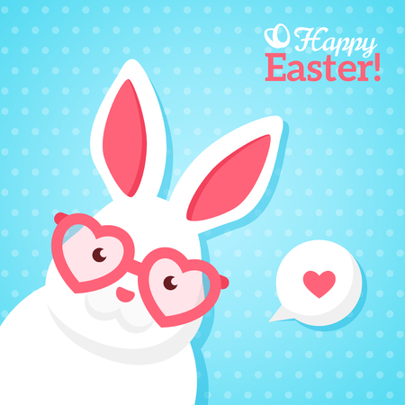 easter sign: Flat Square Happy Easter Banner with White Hipster Rabbit in Pink Heart Shaped Sunglasses. illustration. Happy Easter Greeting Card. Polka Dots Blue Background. Funny Easter Bunny