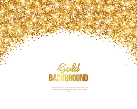 Greeting Card with Gold Confetti Glitter Arch. illustration. Sequins Pattern. Lights and Sparkles. Glowing Holiday Festive Poster. Gift Card, Voucher Design