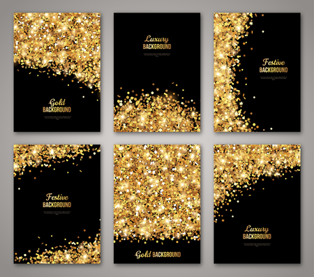 Conjunto de Negro y Oro, Diseño tarjeta de felicitación. Polvo de oro. Ilustración. Plantilla de la invitación Poster Año Nuevo y Feliz Navidad. Lugar para su mensaje de texto.
