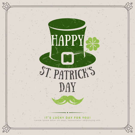 Happy St. Patricks Day Greeting Card. illustration. Party Invitation Design with Irish Hat Emblem. Typographic Template for Text. Irish Pub Cover Menu Design. Textured Retro Backdrop