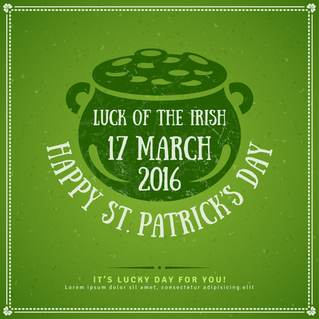 shamrock: Happy St. Patricks Day Greeting Card . illustration. Party Invitation Design with Gold Coins Pot Emblem. Typographic Template for Text. Textured Retro Backdrop