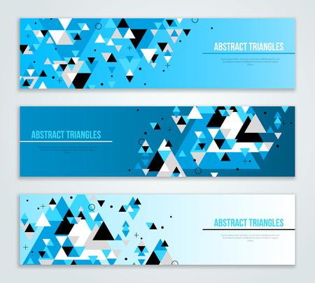 블루 기하학적 인 삼각형 모양 추상 웹 배너의 집합입니다. 비즈니스 프리젠 테이션, 포스터 디자인 레이아웃. 과학 미래 기술 배경입니다. 형상 다각 일러스트
