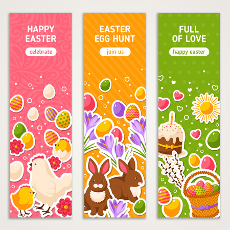 Happy Easter Vertical Banners Set With Flat Sticker Icons. Illustration. Easter Rabbit, Ornate Eggs. Hen and Cute Chicken. Spring Colorful Easter Concept. Season Greetings.
