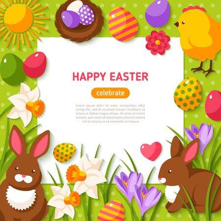 Happy Easter Background. Illustration. Flat Easter Icons with Square Frame. Spring Holiday Concept with place for text. Easter template design, greeting card.