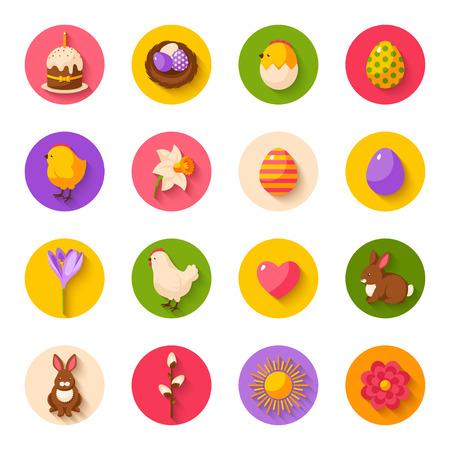 huevo caricatura: Conjunto de linda Feliz Pascua Iconos planos en c�rculos con la sombra. Ilustraci�n. Los huevos de colores, polluelo amarillo y Hen, Narciso y azafr�n, la torta de Pascua, Conejo de conejo, nido con huevos. B�squeda de huevos de Pascua.