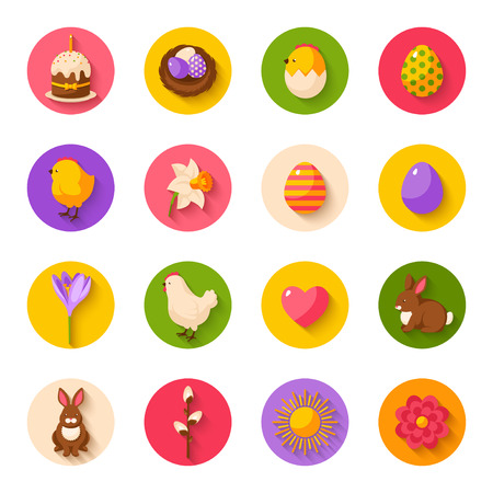 Set of Cute Happy Easter Flat Icons on Circles with Shadow. Illustration. Colorful Eggs, Yellow Chick and Hen, Daffodil and Crocus, Easter Cake, Bunny Rabbit, Nest with Eggs. Easter Egg Hunt.
