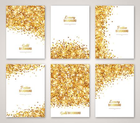 Set di bianco e oro, Greeting Card Design. Confetti Gold Glitter. illustrazione. Paillettes Pattern. Luci e scintillii. Glowing vacanza festosa poster. Carte regalo di disegno Vettoriali