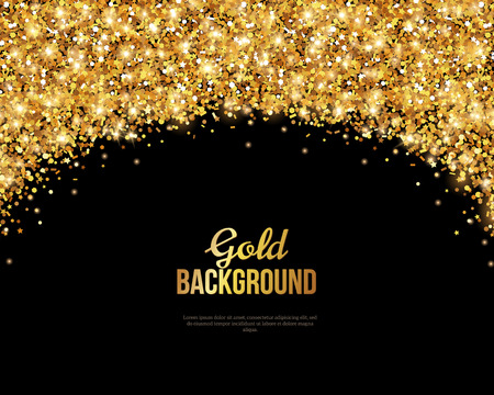 sparkle background: Black and Gold , Greeting Card Design. Golden Dust. Illustration. Happy New Year and Christmas Poster Invitation Template. Place for your Text Message.