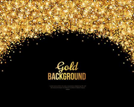 Schwarz und Gold, Grußkarte. Golden Dust. Illustration. Frohes Neues Jahr und Weihnachtsplakat-Einladungs-Schablone. Platz für Ihren Text der Nachricht. Vektorgrafik
