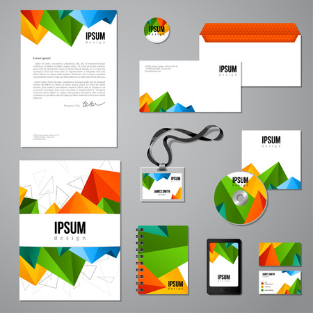 Multicolored vivid corporate identity template. company style for brandbook. Envelope, business cards, folder, disc with packaging, magnet, notebook, badge, phone interface design.