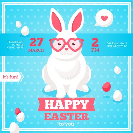 gafas de sol: Banner cuadrado plano Pascua feliz con el blanco del inconformista conejo en coraz�n rosa en forma de gafas de sol.