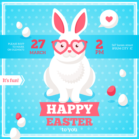 Flat Square Happy Easter Banner with White Hipster Rabbit in Pink Heart Shaped Sunglasses.