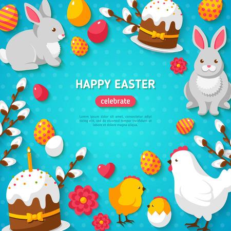 Happy Easter Blauwe Achtergrond. Flat Pasen Icons Frame. Voorjaarsvakantie Concept met plaats voor tekst. Pasen sjabloon ontwerp, wenskaart. Stockfoto - 51470079