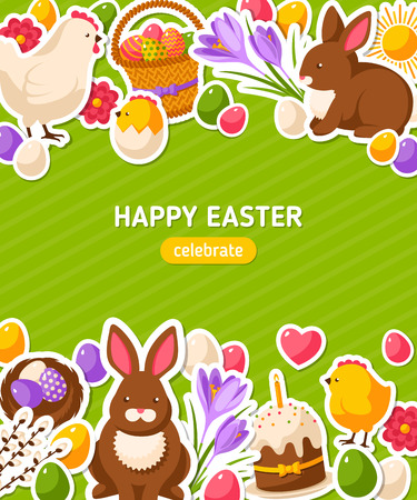 chicken and egg: Happy Easter Vertical Banner With Flat Sticker Icons. Easter Rabbit, Colorful Eggs. Hen and Cute Chicken. Green Spring Easter Concept with place for text. Season Greetings.