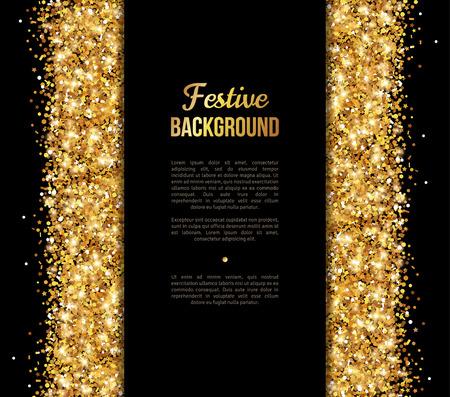 Black and Gold Banner, Greeting Card Design. Polvere d'oro. Illustrazione vettoriale. Buon Capodanno e Natale poster Invito modello. Posto per il vostro messaggio di testo. Archivio Fotografico - 51470101