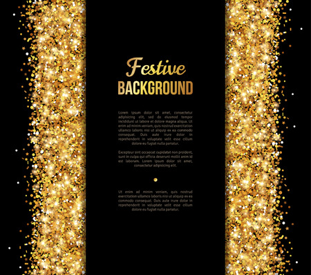 Negro y la bandera del oro, Diseño tarjeta de felicitación. Polvo de oro. Ilustración del vector. Feliz Año Nuevo y Navidad Plantilla de la invitación del cartel. Lugar para su mensaje de texto.