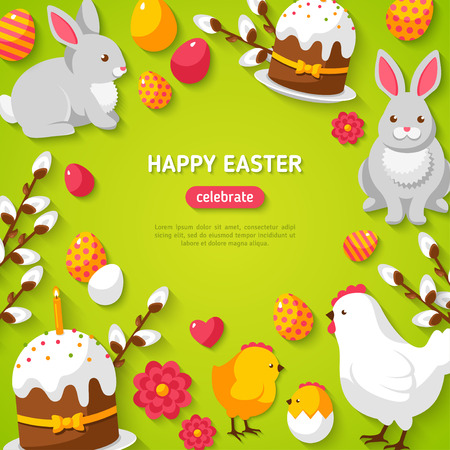 cartoon easter: Happy Easter Green Background with Easter Symbols.