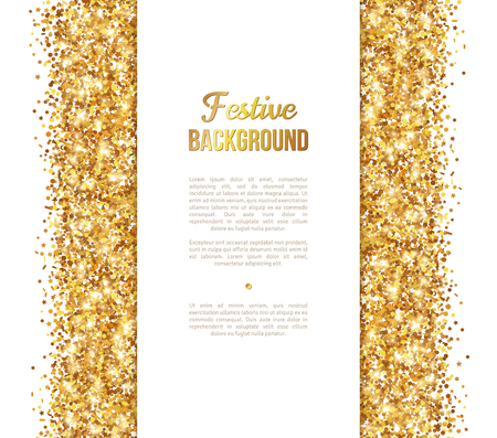 White and Gold Banner, Greeting Card Design. Golden Dust. Ilustração