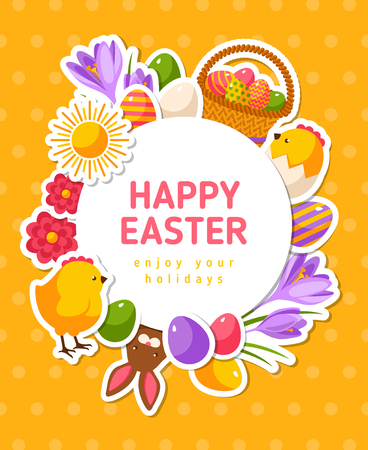 Happy Easter Banner with Flat Icons and Circle Frame. Vector Illustration. Polka Dots Yellow Textured Backdrop. Spring Holiday Concept Symbols. Cute Egg Hunt Party Invitation.