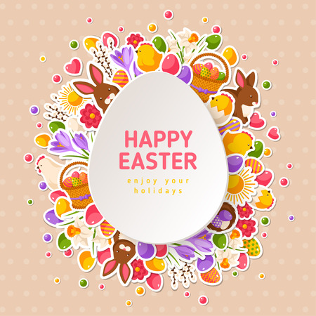 Happy Easter Greeting Cards with Paper Cut Easter Egg. Vector illustration. Easter flat stickers frame. Spring Holiday Concept with place for text. Easter template design, greeting card. Rabbit, eggs
