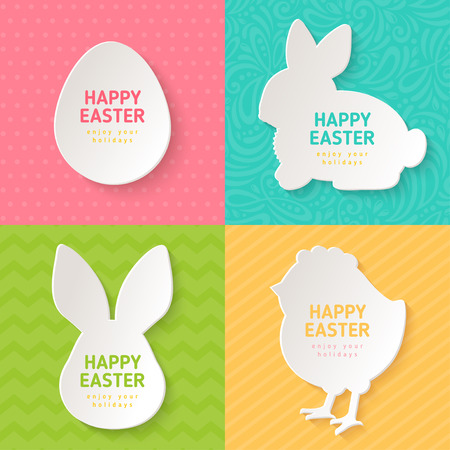 head set: Happy Easter Greeting Cards with Paper Cut Easter Symbols. Vector illustration. Easter Egg, Bunny Rabbit, Chicken. Colorful ornate backgrounds, polka dots, zig zag, stripes.