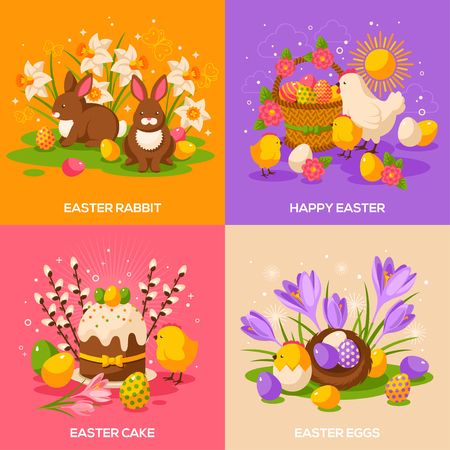 Set of Easter Spring Holiday Concepts. Vector Illustration. Flat Easter Icons. Easter cake, Bunny Rabbit, Easter Egg Hunt, Easter Eggs, Hen and Chicken, Crocus, Basket with Eggs, Willow Tree, Nest
