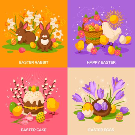 Zestaw Wielkanoc Wiosna letniskowe Concepts. Ilustracja wektora. Płaskie Ikony wielkanocne. Tort Wielkanoc, królik królik, Easter Egg Hunt Easter Eggs, Hen and Chicken, Crocus, kosz z jajami, Willow Tree, gniazdem