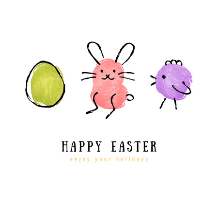 Cute hand drawn Happy Easter greeting card. Vector illustration. Egg, bunny rabbit, chicken. Child drawing imitation. Ink strokes.