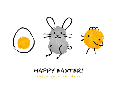 happy child: Cute hand drawn Happy Easter greeting card. Vector illustration. Egg, bunny rabbit, chicken. Child drawing imitation. Ink strokes.