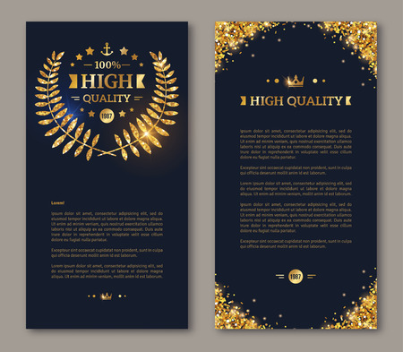 flyer background: Flyer design layout template. Vector illustration. Business brochure design with golden laurel wreath and gold confetti on dark background. Illustration