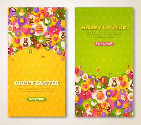 Ostern Vertical Banner Set. Vektor-Illustration. Wohnung Easter Icons in den Kreisen auf strukturiertem Hintergrund. Frühlingsurlaub Konzept Symbole. Ei-Jagd-Party-Einladung. Platz für Ihren Text. Standard-Bild - 53901988