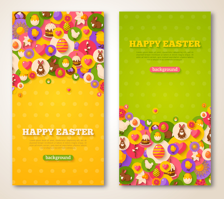 Easter Vertical Banners Set. Vector illustration. Flat Easter Icons in Circles on Textured Backdrop. Spring Holiday Concept Symbols. Egg Hunt Party Invitation. Place for your text. Illustration