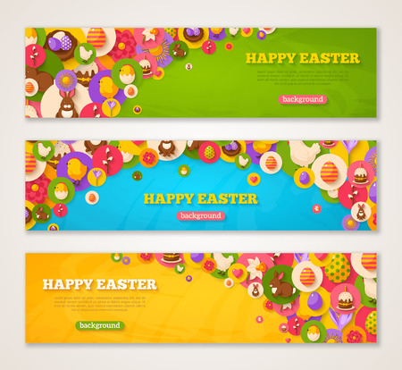 horizontal: Set of Horizontal Web Banners with Easter Flat Icons in Circles. Vector illustration. Spring Holiday Symbols. Easter cake, Rabbit, Crocus, Colorful eggs, Nest. Creative Happy Easter Concept. Illustration