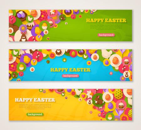 Set van Horizontale webbanners met Pasen vlakke pictogrammen in Circles. Vector illustratie. Voorjaarsvakantie Symbolen. Pasen cake, Konijn, Crocus, kleurrijke eieren, Nest. Creative Happy Easter Concept.