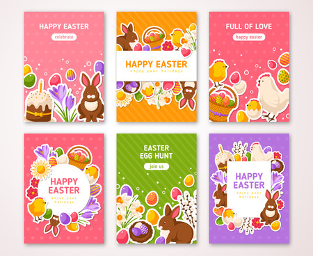 an easter cake: Happy Easter Poster, Banner, Greeting card, Flyer, Menu Templates. Vector illustration. Traditional symbols, flat icons. Frame with Easter Signs. Easter cake, Rabbit Crocus Colorful eggs