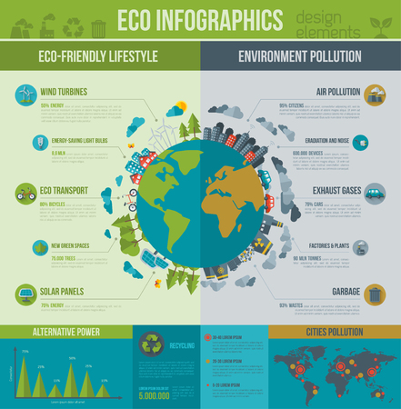 Ecology Infographics. Vector illustration. Environmental template with flat icons. Environmental protection and Pollution. Go green. Save the planet. Earth Day. Creative concept of Eco Technology. Vettoriali