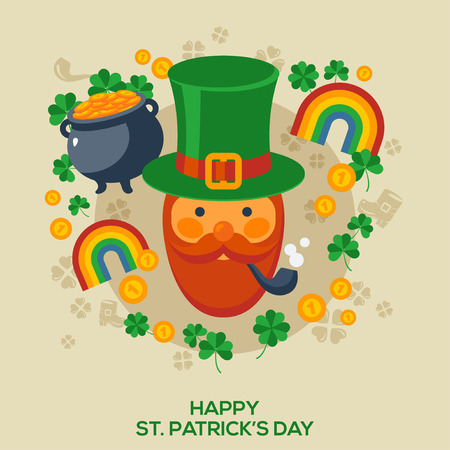 Happy St. Patricks Day Greeting Card. Vector Illustration. Flat Patricks Day Signs and Symbols. Cute Leprechaun in Green Hat. Four Leaf Clover, Rainbow, Pot with gold coins. Flat Icons. Illustration