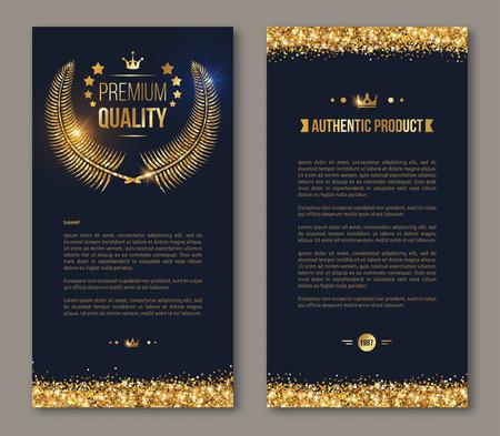 plantilla de diseño de tarjeta publicitaria. Ilustración del vector. diseño de folletos de negocios con corona de laurel de oro y el confeti de oro sobre fondo oscuro. Reluciente diseño vip prima.