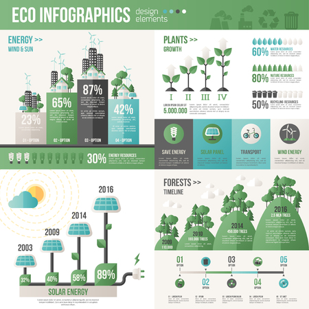 light green: Ecology Infographics. Vector illustration. Environmental template with flat icons. Environmental protection and Pollution. Go green. Save the planet. Earth Day. Creative concept of Eco Technology. Illustration