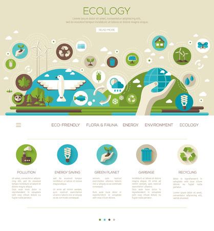 Ecologie, milieu, groene energie. Vector illustratie. Bewaar wereld. Red de planeet.